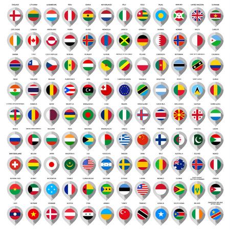 guia turistica: 108 mapas de papel gris con marcador de banderas. Conjunto grande Vectores