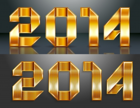 Metal gold ribbon - 2014. Can be used for invitations to New Year or Christmas Vector