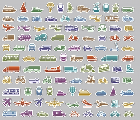 104 Transport icons set retro stickers, vector illustrations, color silhouettes isolated on gray background Stock Vector - 23871511