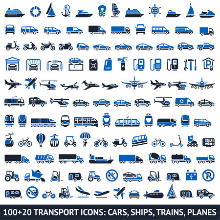 monorail: 100 AND 20 Transport blue icons, vector illustrations, silhouettes isolated on white background