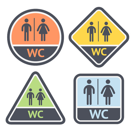 public restroom: Restroom symbols set, flat signs retro color, vector illustrations Illustration