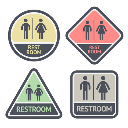 Restroom flat symbols set, vector illustrations