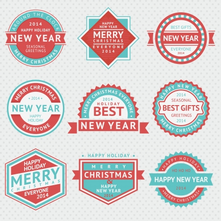 Set badges for Christmas cards, vector illustrations Vector