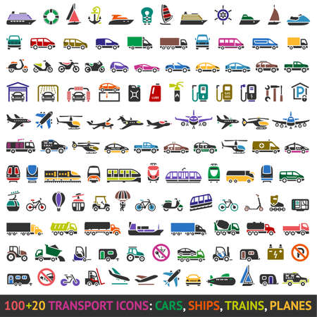 20: 100 AND 20 Transport colored icons, vector illustrations