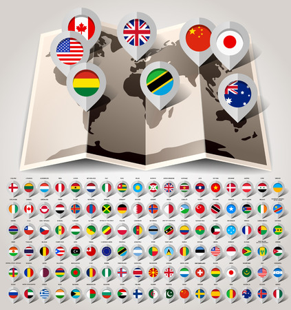Map world with 108 flags  Vector illustration 10eps Vector