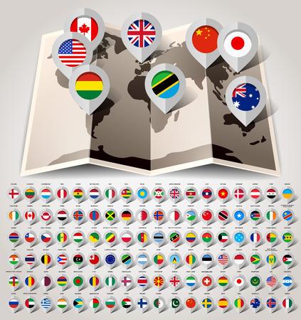 banderas del mundo: Mapa del mundo con 108 banderas ilustración vectorial 10eps Vectores