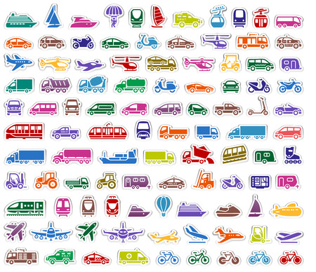 monorail: 104 Transport icons set stickers, vector illustrations