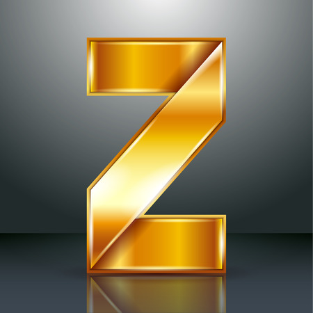 Font folded from a golden metallic ribbon - Letter Z. Vector illustration 10eps. Vector