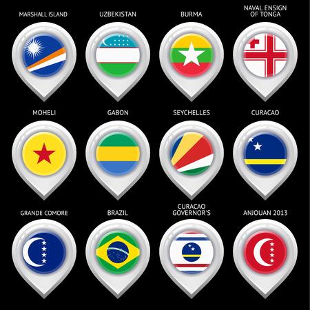 guia turistica: Mapa marcador con la bandera-set und�cimo