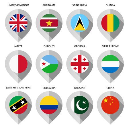 Marker from paper with flag for map - set fourth. Vector illustration Vector