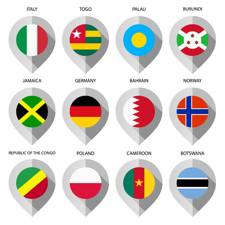 Marker from paper with flag for map - set seventh. Vector illustration Vector