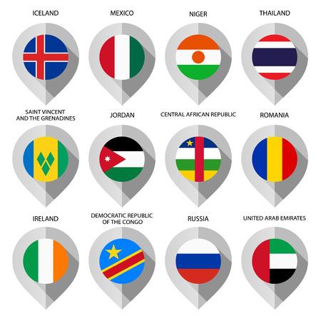 guia turistica: Marcador de papel con la bandera de mapa - establece sexto. Ilustraci�n vectorial