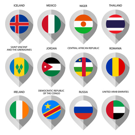 Marker from paper with flag for map - set sixth. Vector illustration Vector