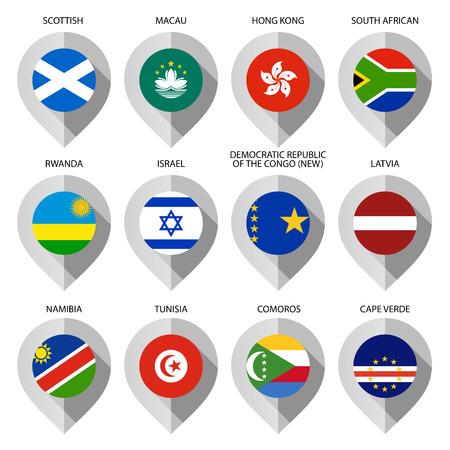 guia turistica: Marcador de papel con la bandera de mapa - establecer d�cimo. Ilustraci�n vectorial