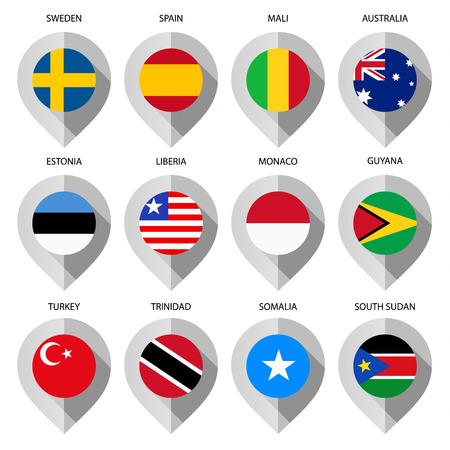 guia turistica: Marcador de papel con la bandera de mapa - establece tercero. Ilustraci�n vectorial