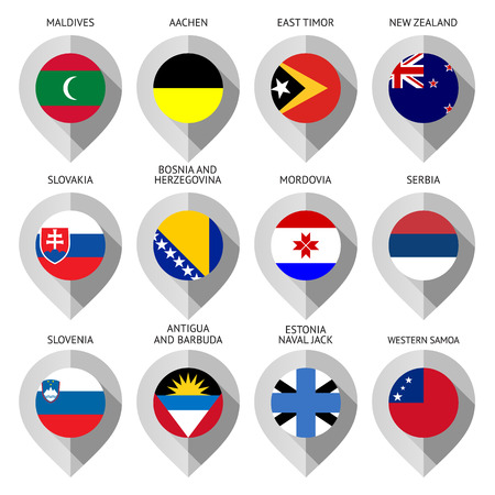 Marker from paper with flag for map - set twelfth. Vector illustration Vector