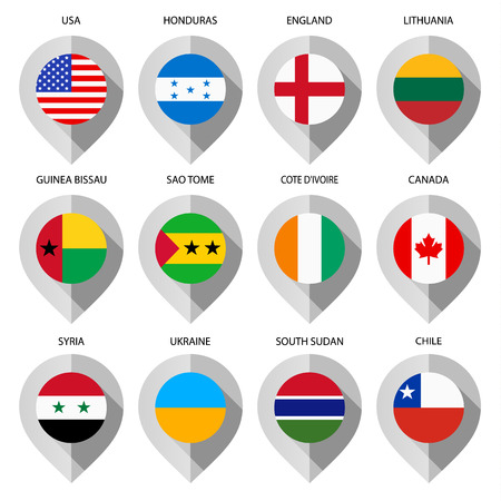 flag pin: Marker from paper with flag for map - set eighth. Vector illustration Illustration