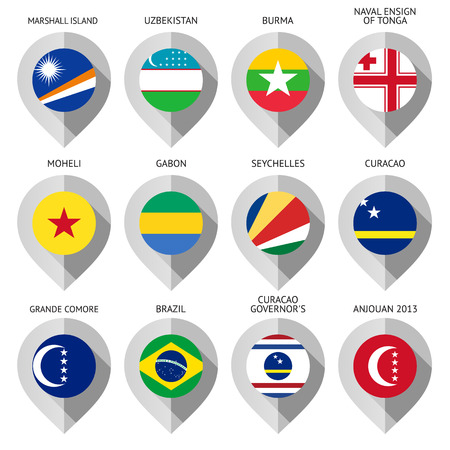 eleventh: Marker from paper with flag for map - set eleventh. Vector illustration