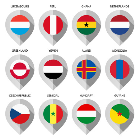 folded arms: Marker from paper with flag for map - set fifth. Vector illustration