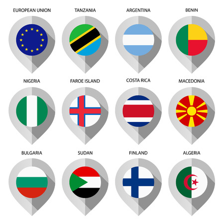 Marker from paper with flag for map - set second. Vector illustration Vector