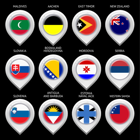 Map marker with flag-set twelfth Vector