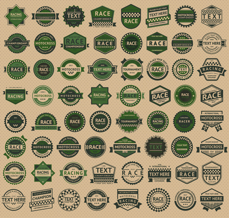 chequered: Racing badges - vintage style, big green set