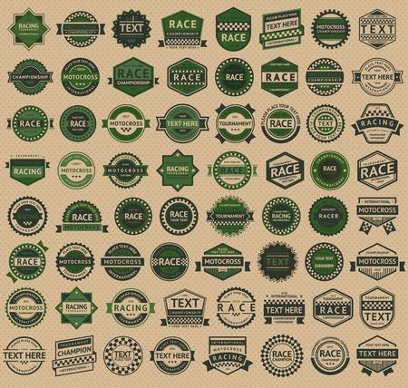 motorsport: Racing badges - vintage style, big green set