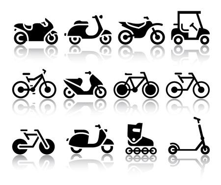 Motocicletas y bicicletas conjunto de ilustraciones vectoriales iconos negro, siluetas aisladas sobre fondo blanco Vectores