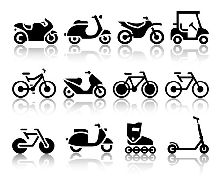 vespa: Motorcycles and bicycles set of black icons  Vector illustrations, silhouettes isolated on white background