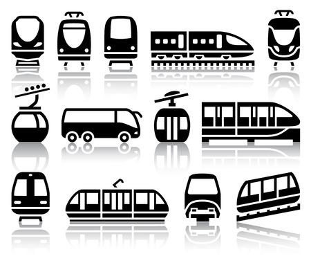 tramway: Passeggeri e di trasporto pubblico icone nere con illustrazioni di riflessione, vettore