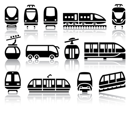 streetcar: Passenger and public transport black icons with reflection, vector illustrations Illustration