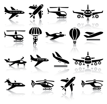 helicopter pilot: Set of aircrafts black icons  Vector illustrations, silhouettes isolated on white background Illustration