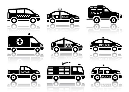 ambulancia: Juego de automóviles de servicio iconos negros con ilustraciones reflexión, vector