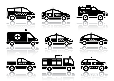 swat: Set of service automobiles black icons with reflection, vector illustrations Illustration