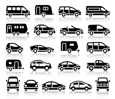 camper: Set of transport black icons with reflection, vector illustrations