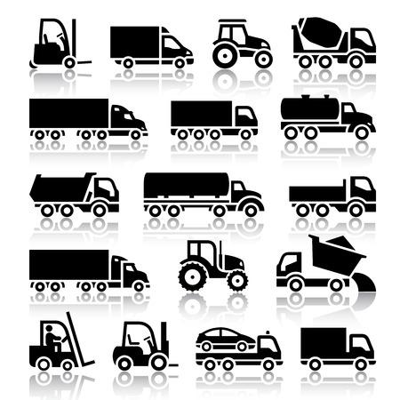 teherautók: Állítsa be a kocsi fekete, ikonok, vektor illusztrációk, sziluettek, elszigetelt, fehér, háttér