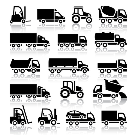 Śmieciarka: Zestaw ilustracji ciężarówka czarny ikony Wektor, sylwetka na białym tle Ilustracja