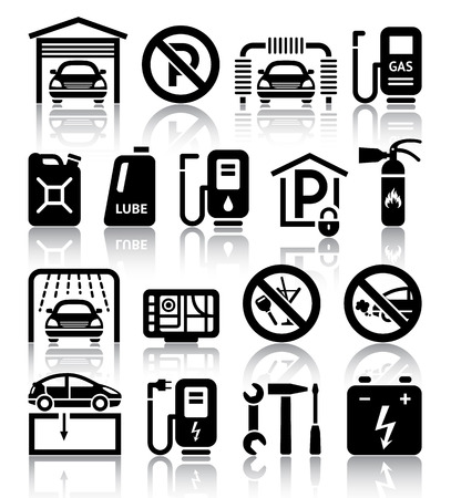 refueling: Transport service set of black icons  Vector illustrations, silhouettes isolated on white background Illustration