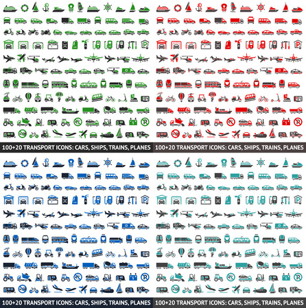 monorail: 480 Transport icons: Cars, Ships, Trains, Planes, vector illustrations, set silhouettes isolated on white background.