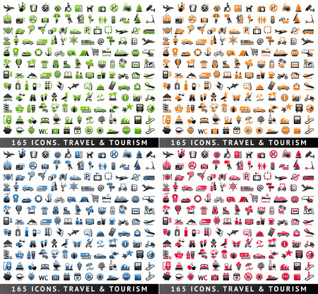 Tourism, Recreation & Vacation, 660 icons set. Sport, Travel with reflection, vector illustration