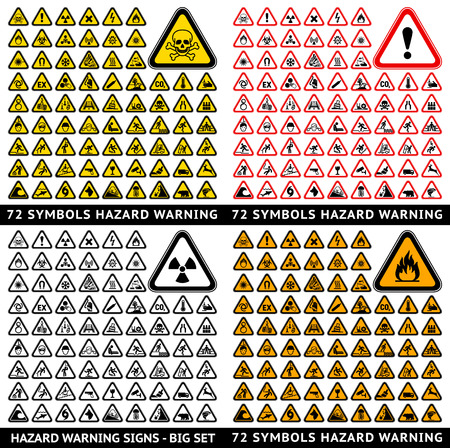 riesgo quimico: Advertencia de Peligro Triangular 72 símbolos. Big conjunto, vector ilustrador Vectores