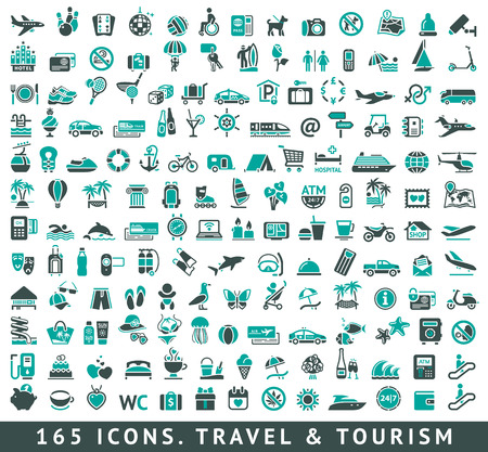 travel card: 165 icons set with reflection, vector illustration Illustration