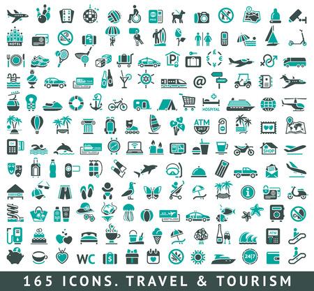 165 sada ikon s odrazem, vektorové ilustrace