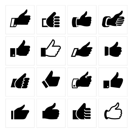 facebook: Like, set icons. Vector illustrations, set black silhouettes isolated on white background.