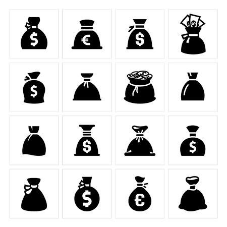 Geldtaschen. Vektor-Illustrationen, Set schwarz Silhouetten auf weißem Hintergrund. Standard-Bild - 26170141