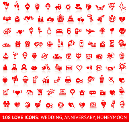 Set of 108 love red wedding icons. Vector illustrations, red silhouettes isolated on white background Vector