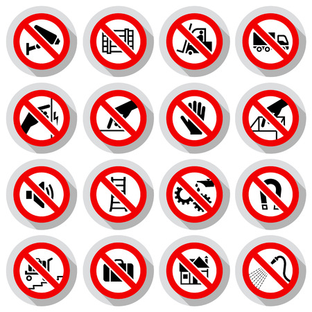 Set icons Prohibited symbols Industrial hazard signs on paper stickers, vector illustration Illustration