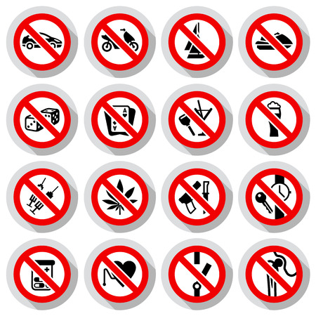 Set Prohibited symbols on paper stickers, vector illustration Vector