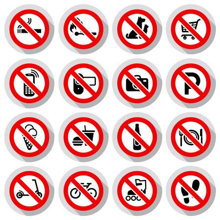no parking: Prohibited symbols set Shop signs on paper sticker, vector illustration Illustration