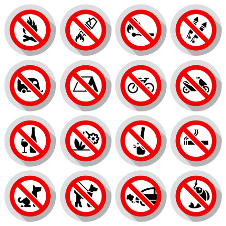 Set Prohibited signs paper stickers Nature symbols, vector illustration Vector